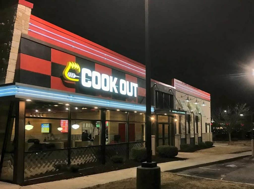 Cook Out menu includes some classic American fast food items like hamburgers, sandwiches, chicken tenders, quesadillas...